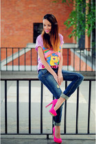 bubble gum choiescom t-shirt - hot pink suiteblanco heels