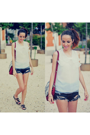 white blouse choiescom blouse - crimson leather bag PAULA FRANCO bag