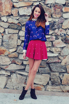 crimson xti boots - navy VJ-style shirt - ruby red PERSUNMALL skirt