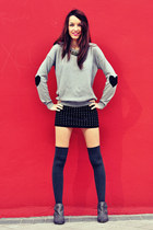 black Zara skirt - silver VJ-style sweater - heather gray Calzedonia tights