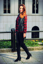 ruby red tartan atteria shirt - black Rosewholesale boots