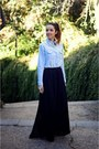 Sky-blue-denim-shirt-choiescom-shirt-black-long-skirt-zara-skirt