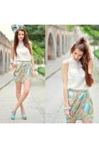 light blue Zara skirt - white linen Zara blouse - light blue sam edelman heels