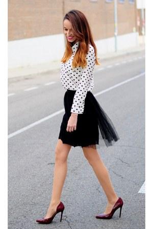 black tulle sammydress skirt - off white Sheinside blouse