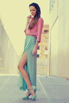 turquoise blue Zara skirt - pink Stradivarius shirt - aquamarine gadea heels