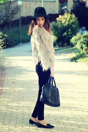beige Zara coat - black Forever 21 pants - black sam edelman flats