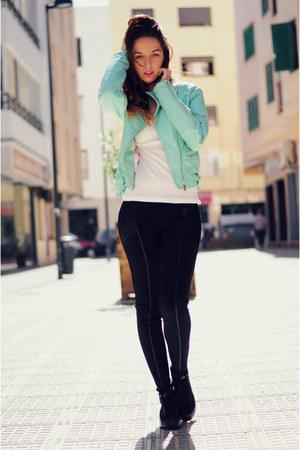 aquamarine leather biker Bershka jacket