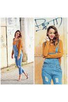 turquoise blue denim jumpsuit choiescom jumper - gold heels Menbur heels