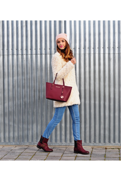 eggshell Promod coat - brick red xti boots - brick red Michael Kors bag