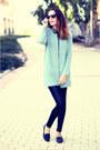 Black-bershka-leggings-black-vj-style-shirt-aquamarine-vj-style-cardigan