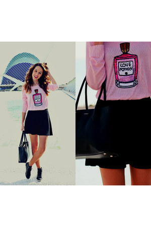 bubble gum StyleMoi sweater - black Forever 21 skirt