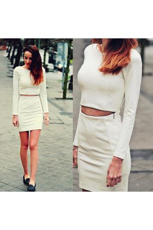 ivory dress Zara dress - black slippers sam edelman flats