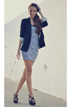 navy Zara blazer - charcoal gray pull&bear dress - black Zara heels