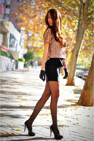 gold pailletes miss iny blouse - crimson peplum Bershka skirt