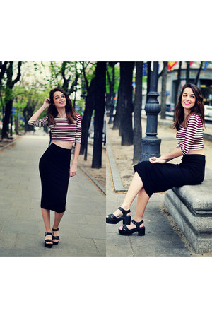 crimson crop top Forever 21 top - black H&M skirt