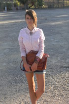 brown pull&bear bag - light pink H&M shirt