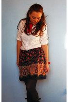 random skirt - white H&M shirt - red bow tie DIY necklace