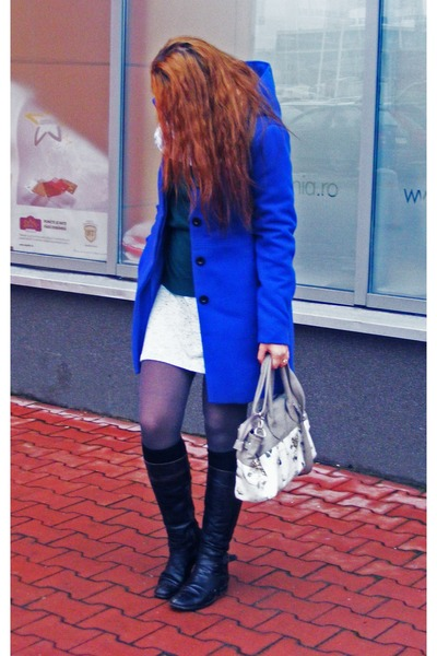 gray deichman bag - black no1 boots - navy Orsay coat - charcoal gray H&M tights