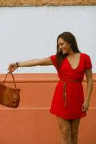 red random dress - tawny random bag - burnt orange New Yorker belt