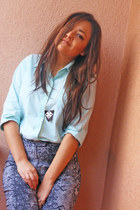 turquoise blue Esprit shirt - leather handmade necklace
