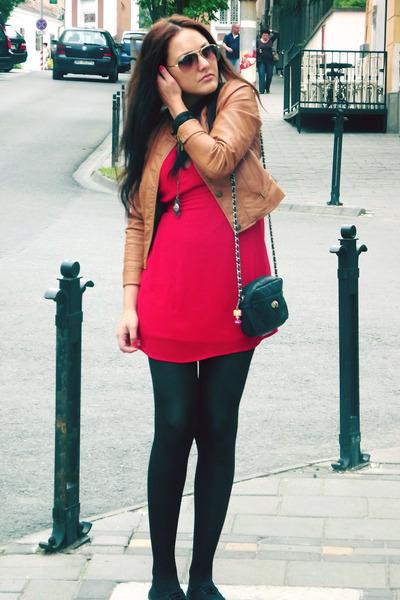 ruby red random dress - black H&M shoes - tawny Orsay jacket - black Primark bag