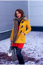 mustard H&M coat - red H&M dress - charcoal gray H&M tights - navy daichman bag