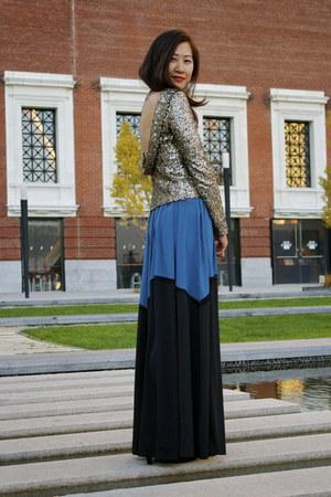 gold sequined Disco Pony top - blue asos skirt - black Cole Haan pumps