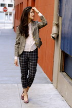 light brown plaid Miss Sixty blazer - black plaid asos pants