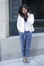 Ivory-lace-abercrombie-and-fitch-blazer-blue-pleated-habitual-pants-black-ke