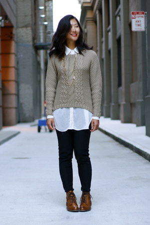 tawny asos shoes - camel JCPenney sweater - black H&M leggings