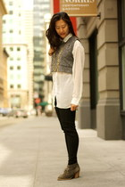 off white sheer American Apparel shirt - charcoal gray madewell boots