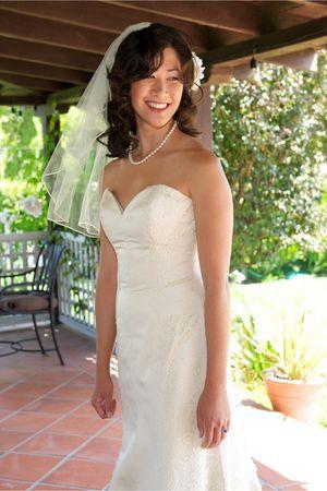 ivory wedding dress - aquamarine bridesmaid Jcrew dress