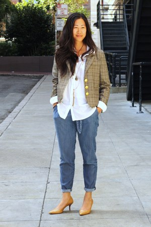 light brown plaid Miss Sixty blazer - camel Cole Haan heels - white H&M blouse