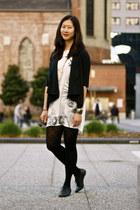 off white Zara dress - black blazer - black DKNY tights