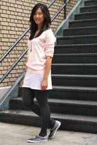 pink Forever 21 sweater - white Forever 21 dress - gray Forever 21 tights - blac