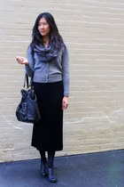 oxford Kimchi Blue shoes - Forever 21 bag - zoe d skirt - JCrew cardigan