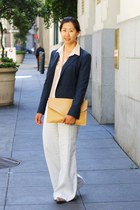 peach sheer H&M blouse - navy blazer - mustard romwe purse