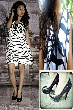 black animal print korean dresses dress - black glitter heels