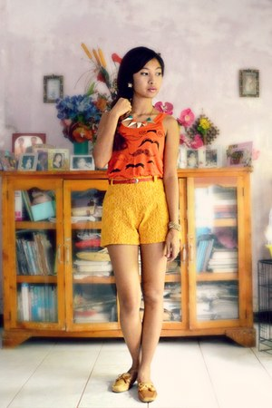 carrot orange from Korea top - yellow lace from Korea shorts