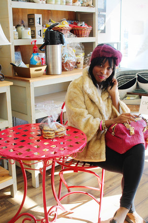 faux fur saks coat - purple Jcrew hat - peony pink Michael Kors bag