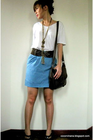 white Zara top - blue random from Bangkok skirt - brown random from Bangkok belt