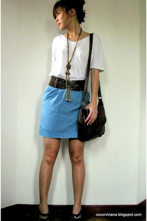 white Zara top - blue random from Bangkok skirt - brown random from Bangkok belt