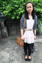 tawny Nine West bag - heather gray H&M cardigan