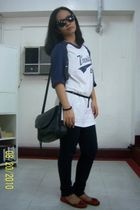 white shirt - black NXT jeans jeans - red Mango shoes - black bag - black Ray Ba