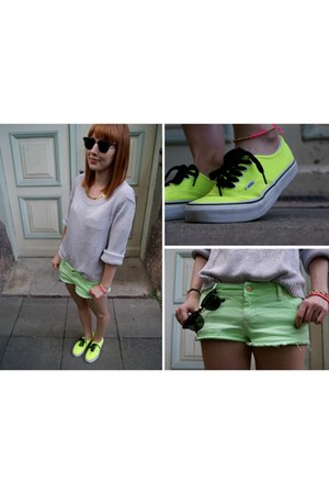 lime green Topshop shorts - silver H&amp;M jumper - yellow Vans sneakers