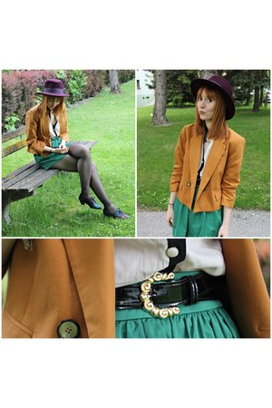 purple Zara hat - mustard Zara blazer - Zara skirt - black vintage belt