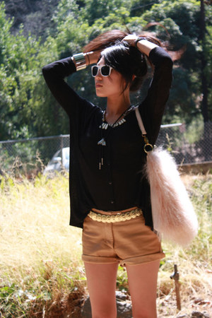 Thrift Store shorts - flea market sunglasses - Thrift Store belt - H&M blouse