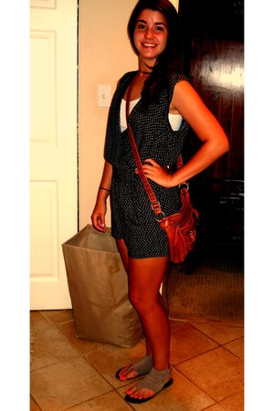 dark brown Bueno purse - navy Forever 21 romper - tan Mia sandals