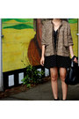 Tweed-thrifted-jacket-chelsea-target-boots-polka-dot-urban-outfitters-dress