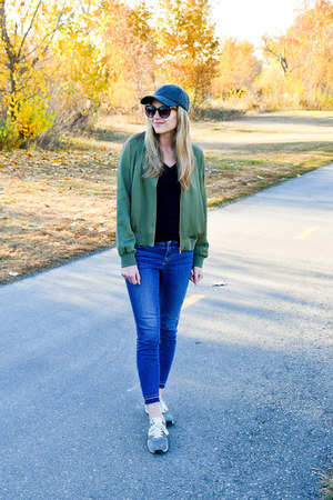 green Grana jacket - blue Loft jeans - charcoal gray madewell hat